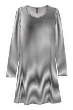 Jersey dress - Black/White/Striped - Ladies | H&M CN 2